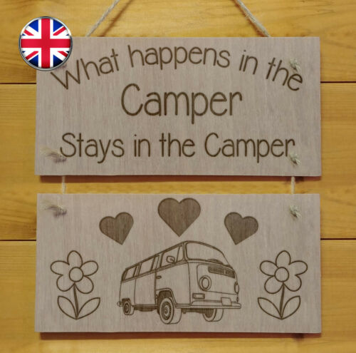 Just drink wine and sleep in my caravan.Engraved plaque.Sign Camping Gift Fun