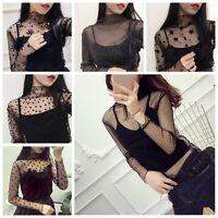 Sexy Women Long Sleeve Sheer Mesh See Through Top T-Shirt Casual Blouse Clubwear
