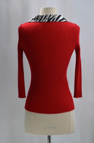 Sl Knit Fine Sexy Satin Blouse Nuovo Red 4 Maglione Belldini Trim Zebra Rib S Top 3 8qFCwWgp