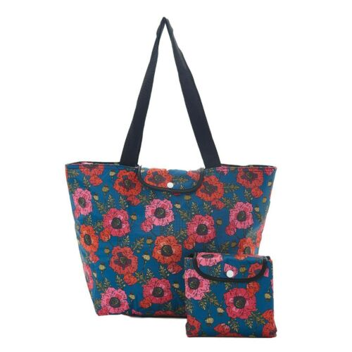 POPPY print large foldaway cool bag ECO CHIC insulated holds 10kg