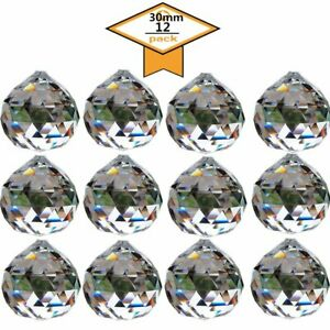 30mm-Clear-Crystal-Ball-Pendant-Feng-Shui-Suncatcher-Faceted-Prism-Balls-12PCS
