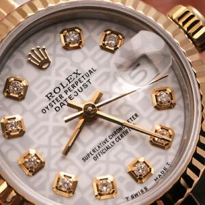 LOGO Bianco Rolex Datejust 26mm 18K GOLD & SS giubileo di diamante Scanalati Orologio Donna Con