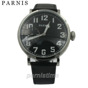 46mm-Parnis-Hand-Winding-Movement-Men-039-s-Watch-Stainless-Steel-Case-Leather-Strap