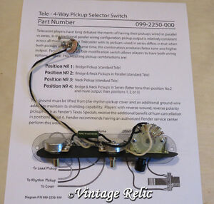Tele 4 way Upgrade wiring kit Prewired PIO cap CTS pots fits Fender