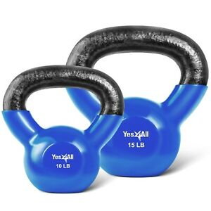 Kettlebells-Set-10-15-lbs-Weights-Lifting-Workout-Gym-PVC-Coated-Kettlebell