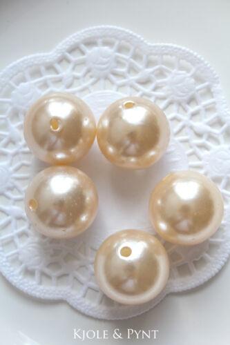 5 XL Wachsperlen Perlen Fädelperle Dekoperle Ø2,4cm 24mm Hochzeit 0,55€//St