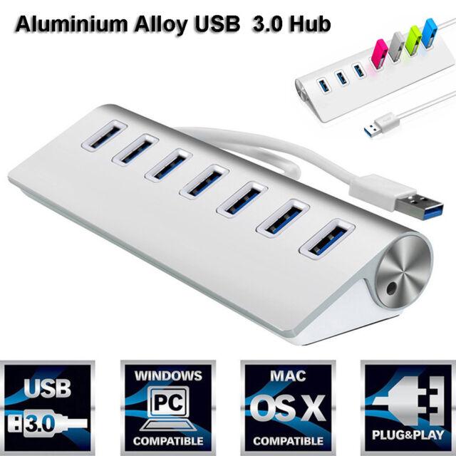 Aleación USB 3.0 Adaptador de 4/7 puertos HUB para PC portátil Macbook Pro