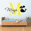 Personalised name whale nautical wall sticker two tone art boys childs nursery
