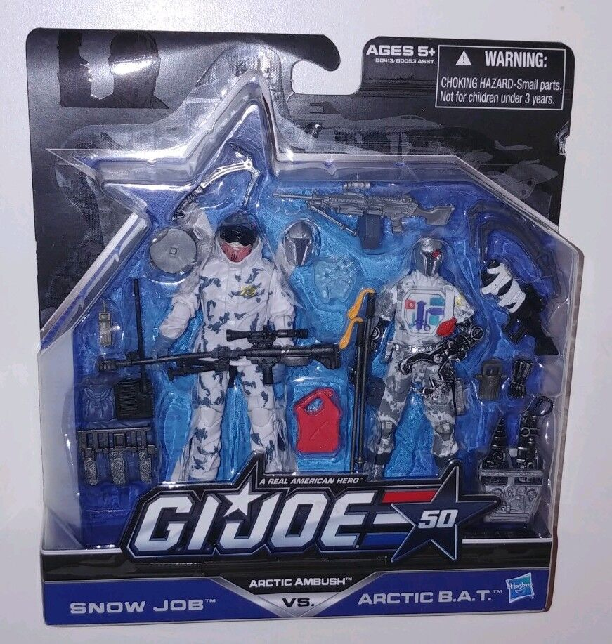GI Joe 50th Anniversary Snowjob vs Cobra Arctic Bat action figure lot 2-pk