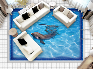 3D Sea Dolphins Tile 73 Floor WallPaper Murals Wall Print Decal AJ WALLPAPER US