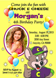 chuck e cheese custom birthday party invitation free thank you