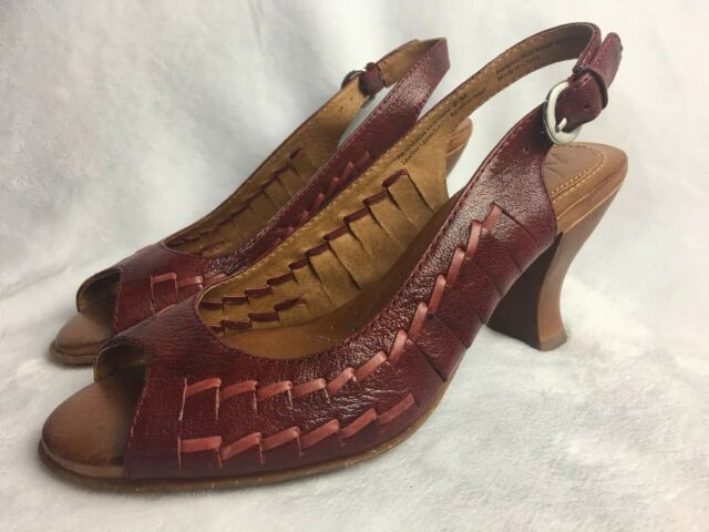 New Naya Womens Size 6 M Heels Slingback Red Leather Ankle Strap Peep Toe Shoes