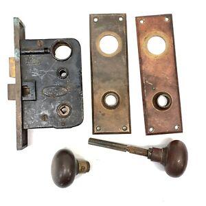 Vtg-Lockwood-Entry-Mortise-Lock-Deadbolt-Door-Back-Plates-Brass-Hardware-Antique