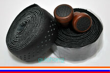 Black GYES Seamless Drop Handlebar Holes Leather Bar Tape Wrap Wooden-plug