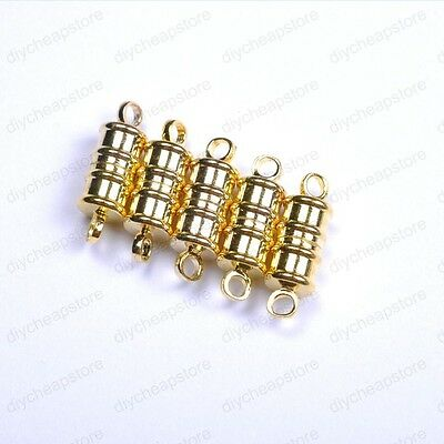 10Sets Silver /Golden Plated Stripe Oval Powerful Magnetic Clasps Hooks Findings