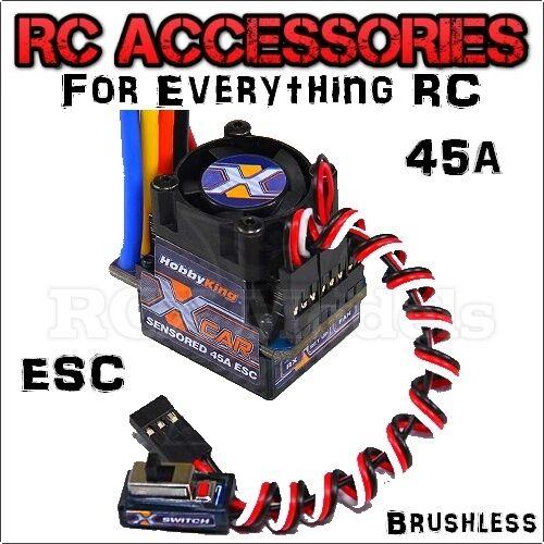45A BRUSHLESS ESC RC Auto Barca SENSORLESS con sensori senza spazzole LIPO EZRUN XERUN 7.4 V 11.1 V UK