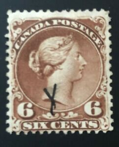 CANADA-1868-27a-QUEEN-VICTORIA-LARGE-QUEEN-ISSUE-6-cent-YELLOW-BROWN-USED