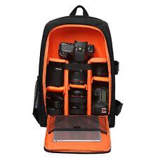 Camera Photo Shoulders Bag w/ Rain Cover Laptop Backpack Soft Video DSLR Case