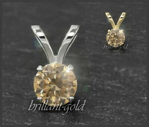 Diamant-585-Gold-Damen-Anhaenger-zart-champagner-Brillanten-3-5mm-0-10-0-50ct