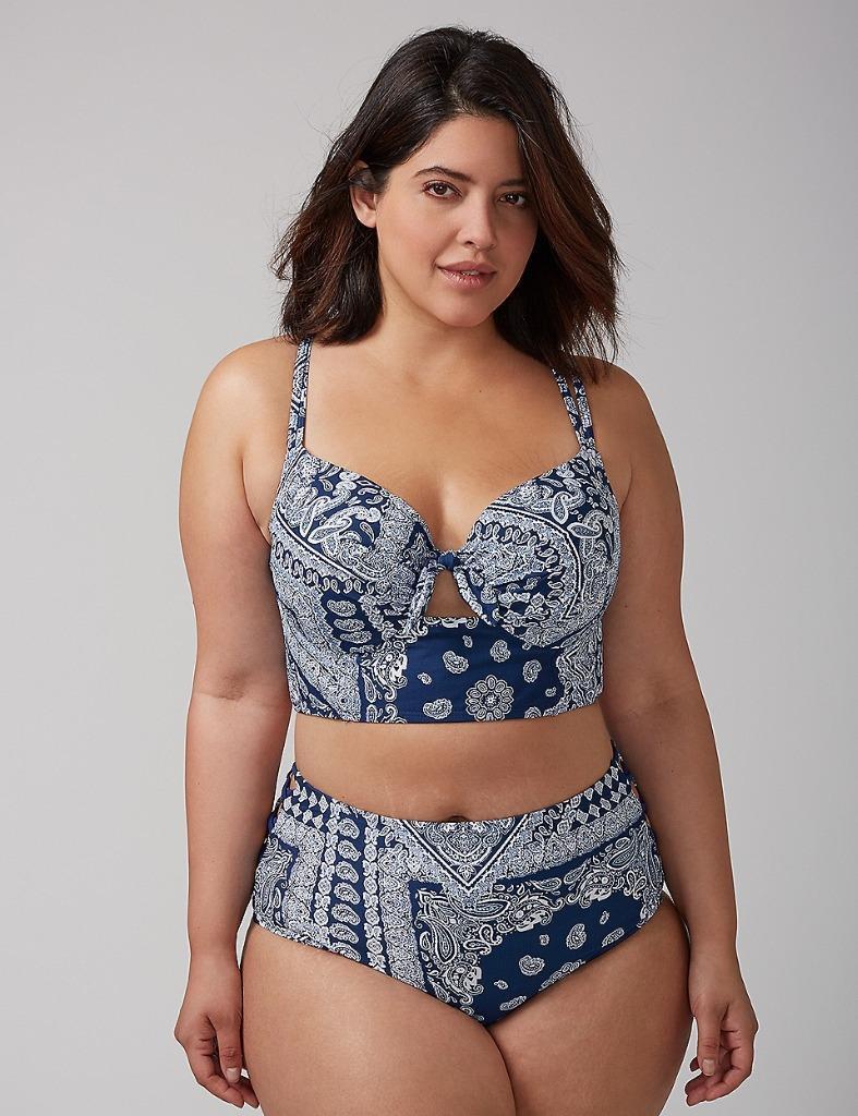 New SOLDOUT lane bryant cacique longline bikini swimsuit set 44dDd bra 28w SET