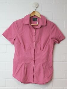 KATHMANDU Womens Pink Fitted Checked Collared Shirt Short Sleeves Size 8