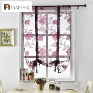 Details about NAPEARL 1 Panel Floral Kitchen Curtain Modern Pastoral Tie Up  Roman Shades Sheer