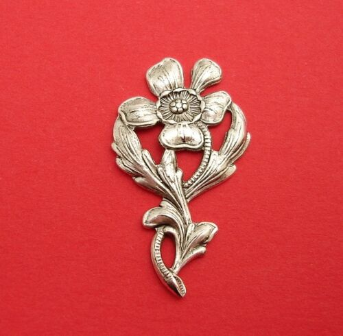 Ox Silver  Stamping Embellishment Flower Branch Pendant  Jewelry Findings. 4