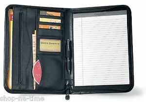Gemline Deluxe Executive Vintage Black Leather Zippered Padfolio - New