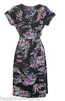 New Monsoon Black Pink Grey Printed Jersey Summer Tunic Tea Dress Vintage