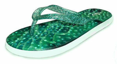 4e3c9295c82b1 FlopZ Ladies Flip Flops With Textured Footbed - Emerald Green   Glitter  Strap