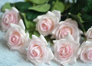 10 stems pale pink roses real touch flowers for boho wedding bridal image is loading 10 stems pale pink roses real touch flowers mightylinksfo