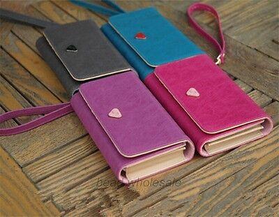 Sweet Girls bag Handy Women PU Leather Purse Lady Long Handbag Wallet Phone Case