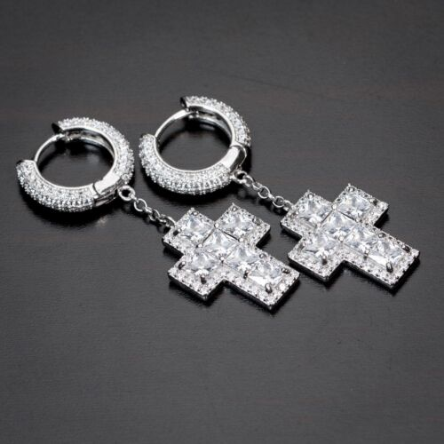 Mens White Gold Sterling Silver Cross Solitaire Dangle 2pc Huggie Hoop Earrings