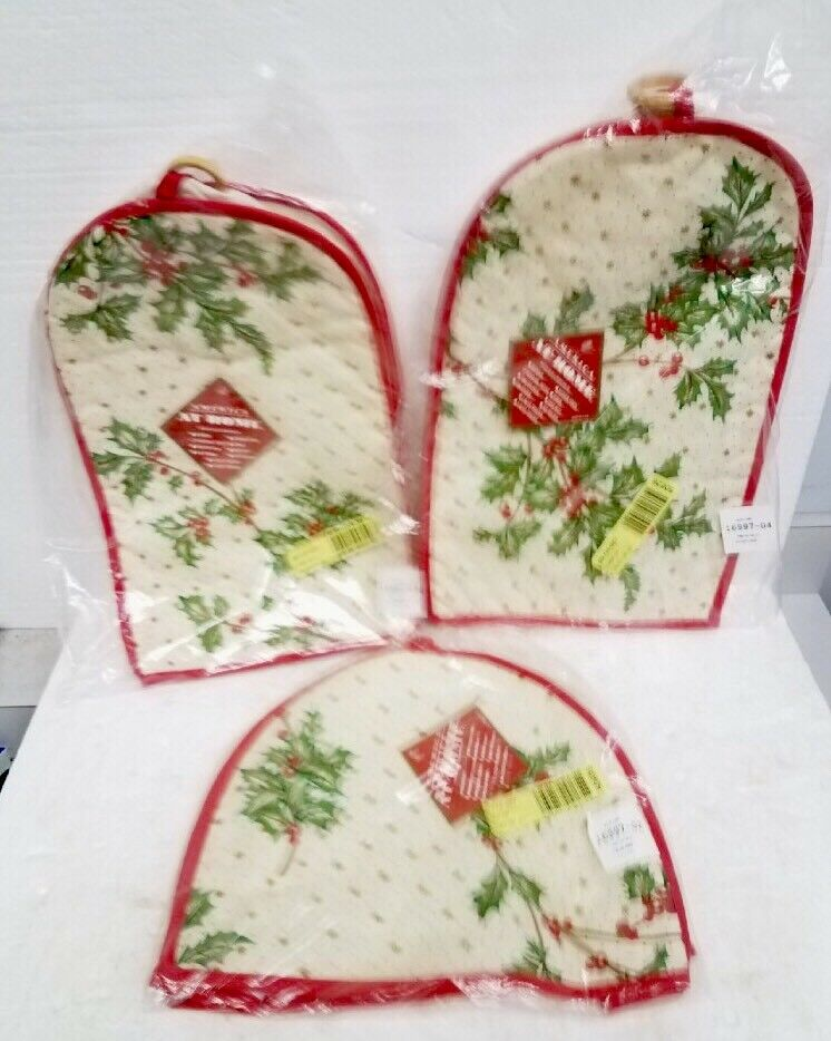 VTG Christmas Holly & Berries lot of 3 toaster coffee maker and mixer covers NIP