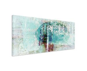 150x50cm Panoramabild Paul Sinus Art Abstrakt türkis braun grau weiß ...
