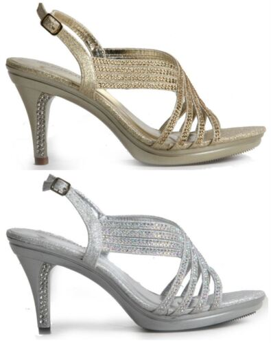 Womens Ladies Diamante Studded Stiletto Heel Open Toe Buckle Up Sandals