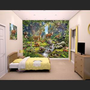 Details zu Wald Tiere Fototapete Tapete Kinderzimmer Wohnzimmer Kinder  Wandbild Wand Deko
