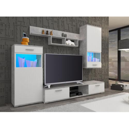 Anbauwand Blues Wohnzimmer Wohnwand in weiß Laminat und Betonoptik 230 cm