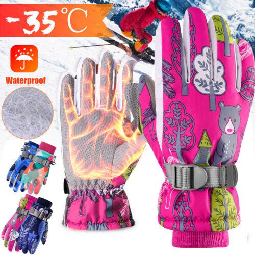 Children Kids Boy Girl Ski Gloves Winter Warm Snowboard Waterproof Riding Gloves