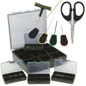 Fishing-Tackle-Box-with-4-Extra-Boxes-Baiting-Needles-Scissors-Knot-Puller-NGT