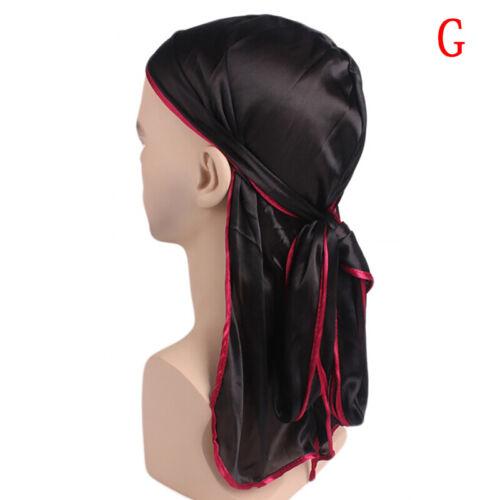 Satin Breathable Bandana Hat Silky Durag Do Doo Du Rag Long Tail Headwrap BH