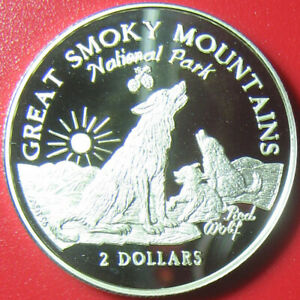 1997-COOK-ISLANDS-2-SILVER-PROOF-RED-WOLF-CUBS-GREAT-SMOKY-MOUNTAINS-PARK-RARE