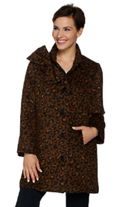 Dennis Basso Leopard Print Button Front Coat with Bow Accent, Size S, MSRP