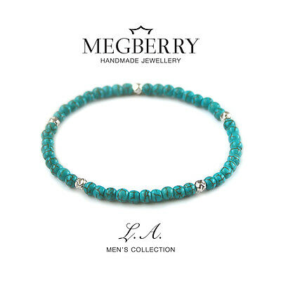 MEGBERRY® Mens Beaded Bracelet - 925 Sterling Silver & Turquoise Custom size