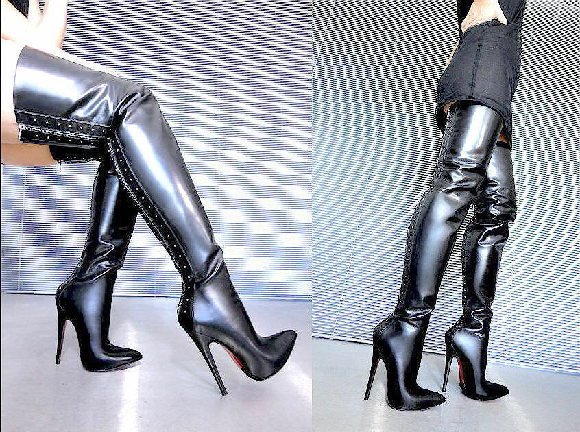CQ COUTURE OVERKNEE HIGH HEELS BOOTS STIEFEL BOOTS LEATHER ZIP BLACK BLACK 43