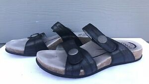 Abeo-Barbara-Women-039-s-Black-Leather-Two-Strap-Slides-Sandals-Size-US-9-P