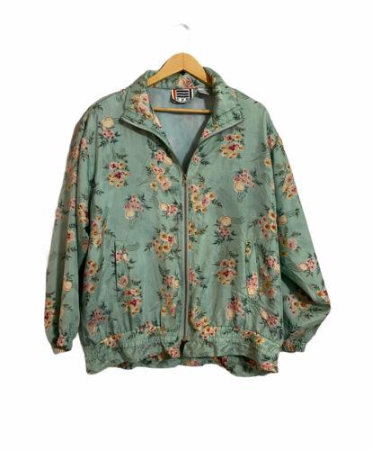 vintage silk animal print floral track jacket  vintage windbreaker  bomber jacket  womens medium