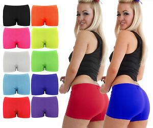 Ladies Neon Stretchy Plain Hot Pants Shorts Girls Dance Gym Club Wear Party Pant