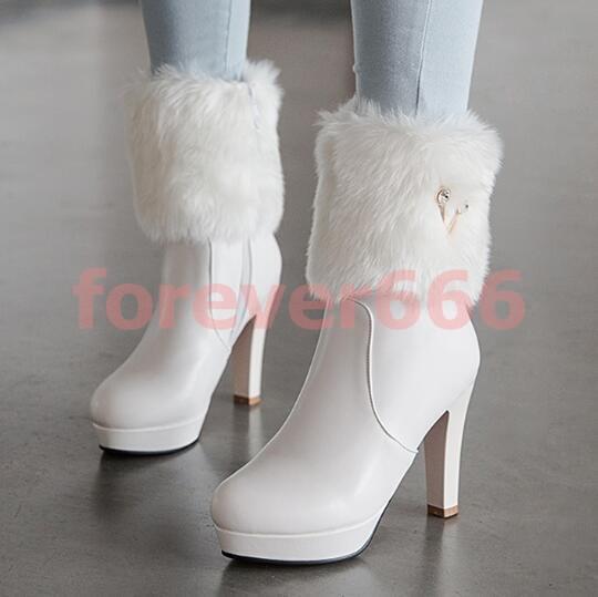 Gr.34-43 Volltonfarbe Stiefel Platform Stiefeletten Kurz Stiefel Volltonfarbe Damen Schuhe efbfd6