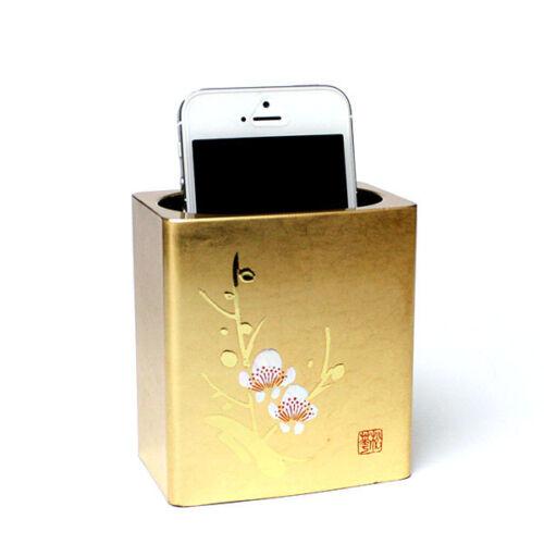 Japanese Gilt Kinpaku Free Stand For iPhone Pen Glasses Plum Kanazawa JAPAN